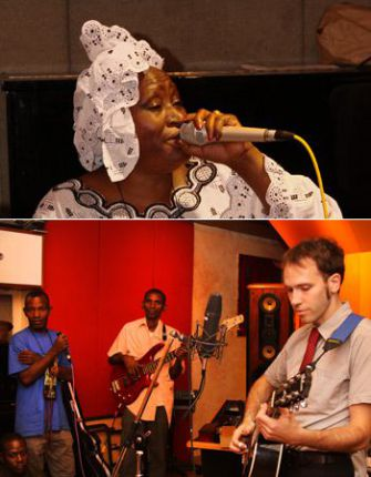 Ya Salaam: Khaira Arby (above) and Jeremiah Lockwood performing with members of her band.