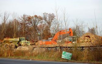 A Slaughterhouse Grows: Construction vehicles on the site in Rockland County where a slaughterhouse has been proposed. (click for larger)