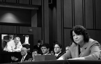 Supreme Court Justice: In July, 2009, nominee Judge Sonia Sotomayor listens to questions during confirmation hearings before the Senate Judiciary Committee.