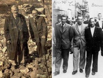 Still Standing: Yankel Wiernik (left) and a companion stand on the remains of the Warsaw Ghetto. Right, three survivors of the Treblinka uprising take a stroll in Warsaw in 1945.