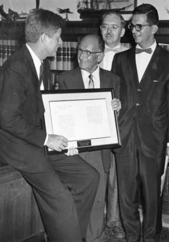 Letter: Morris Morgenstern (center) presents a copy of Washington?s letter to President John F. Kennedy as PR guru Howard Rubenstein (right) looks on.