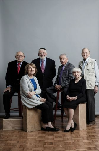 Local Holocaust survivor participants in the project, Chicagoland survivors: Aaron Elster, Fritzie Fritzshall, Sam Harris, Janine Oberrotman, Adina Sella, Israel Starck, and Matus Stolov.