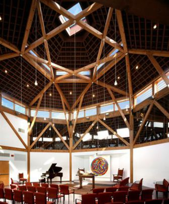 Pray what you want: Beth Shalom Rodfe Zedek?s airy sanctum was designed by congregant LeWitt and architect Stephen Lloyd.