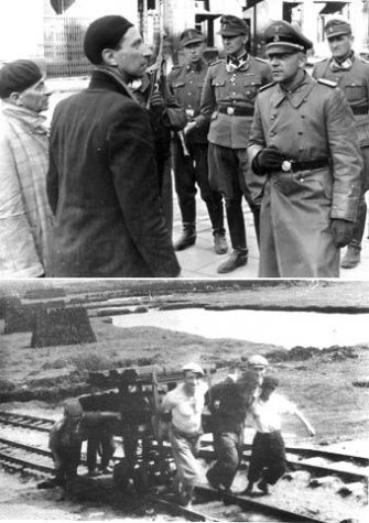 Questioned: German commander Jurgen Stroop (top) interrogates two Jewish men during the Warsaw Ghetto uprising. At bottom, a rare photo inside Treblinka of inmates hauling materials for a pyre.