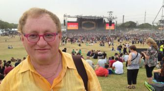 The author in front of the Rolling Stones stage.