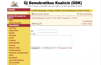 A posting of the website of Gorka's party, the New Democratic Coaltion (UDK) announces its support for the Hungarian Guard.