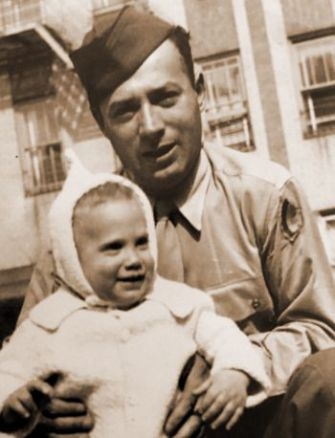 Michael Stillman and his father, Aaron Stillman, 1944