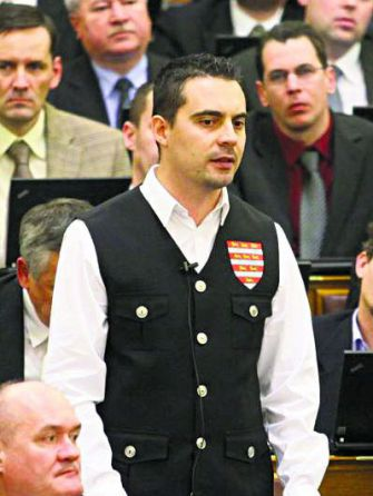 Clothes Make the Man: Gabor Vona wears the uniform of a banned anti-Semitic paramilitary group at his first parliamentary session in 2010.