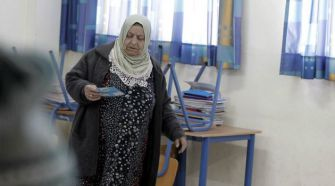 Arab Surge: An Arab Israeli woman casts her vote at a polling station in the coastal city of Haifa.