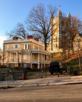 Alexander Hamilton's home, 'The Grange,' with City College towering in the background.