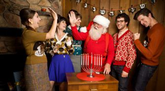 Cozy: Geltfiend created Hanukkah swag as a Jewish answer to the Christmas sweater tradition. Below, Meshugene Divas, an opera and Jewish music hybrid performance, advertises its show.