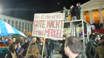 Good Night Merkel:Voters in Greece celebrate election results with a jibe at the German chancellor who they felt was responsible for the austerity measures they have just vetoed.
