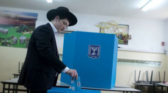 An ultra-Orthodox man casts ballot in Jerusalem. Turnout is said to be high across Israel, but who votes in what numbers may make all the difference.