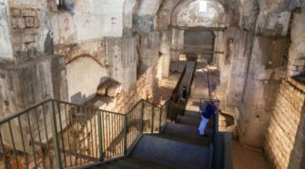 Excavations under the police station near Jaffa Gate, where some archeologists now believe the trial of Jesus took place.