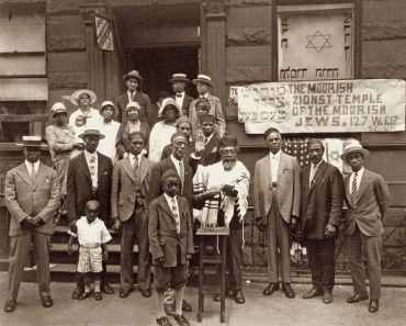 Rabbi Mordecai Herman, center, at the Moorish Zionist Temple in Harlem.