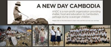 A screenshot of the website of A New Day Cambodia, which assists children forced to scavenge in garbage dumps. (click to enlarge)