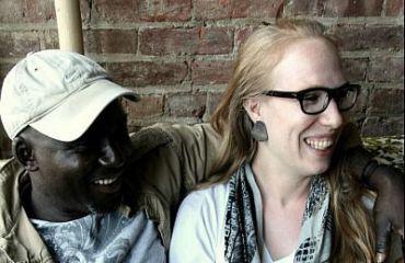 Nat Goldberg with her partner, Lookman Mashood, at Buka, their Brooklyn restaurant.