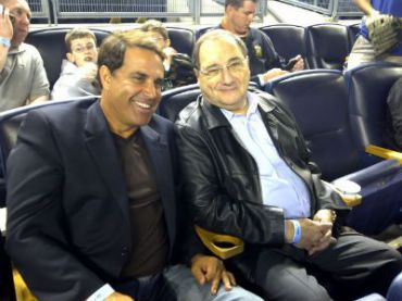 Rick Sanchez and Abe Foxman at Yankee Stadium in May 2011