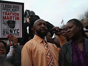 The parents of Trayvon Martin at the recent ?Million Hoodies March? in New York.