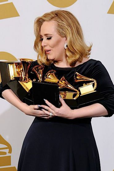 Adele with her six (count them!) Grammys.