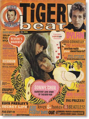 Bob Dylan, Sonny and Cher on the cover of Tiger Beat Magazine, 1965.
