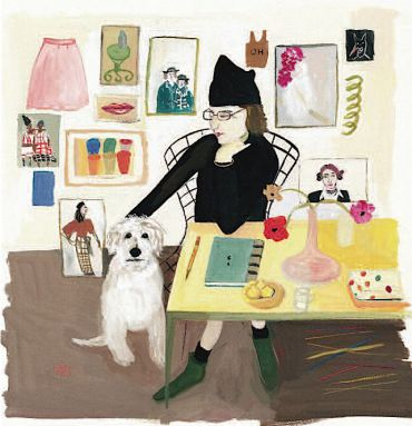 Maira Kalman, ?Self Portrait (with Pete),? 2004-2006, guache on paper. Courtesy of the artist.