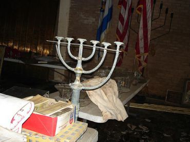 The menorah at Beth Israel Congregation in New Orleans. (click to enlarge)