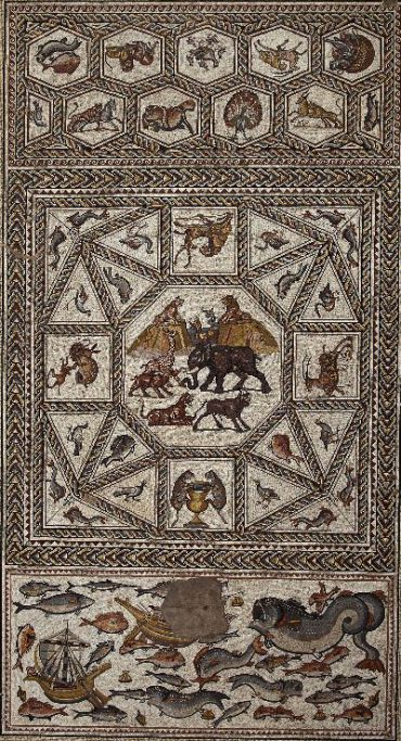 A fourth-century mosaic discovered in Lod. Click for larger view.