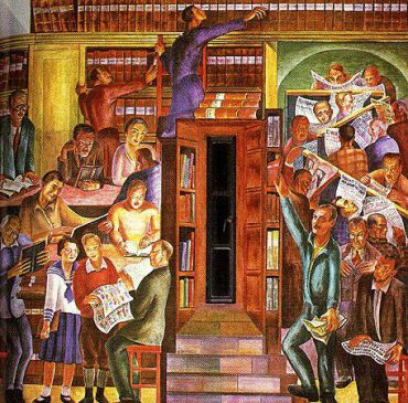 Bernard Zakheim?s controversial library scene in the Colt Tower mural. Click for larger view.