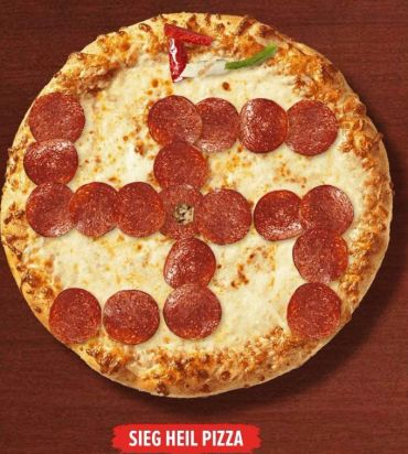An illustration posted on the Daily Stormer of a pizza topped with a pepperoni swastika