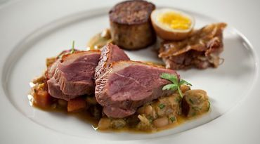 Cholent Redux: At Citron and Rose, chefs Michael Solomonov and Yehuda Sichel, create elegant interpretations of Ashkenazi dishes like sholet, a Hungarian cholent. Here, it?s made with lamb shank, beans and kishke.