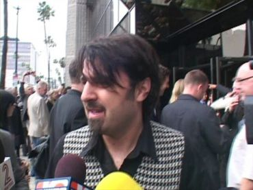 Scandar Copti, being interviewed outside the Samuel Goldwyn Theater in Beverly Hills, Calif.