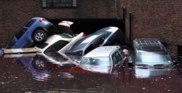 Cars flooded by Hurricane Sandy.