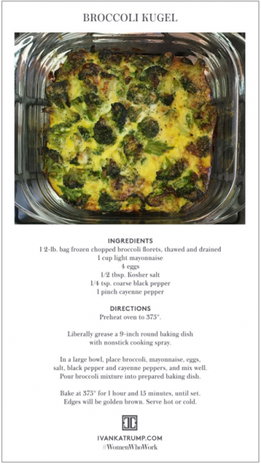 According to Ivanka Trump, this dish (which she found in Jamie Geller's 'Joy of Kosher') is 'as good for brunch as it is for dinner.'