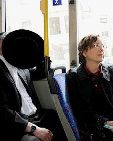 NCJW Board Member Leslie Sternlieb at the front of a Jerusalem bus.