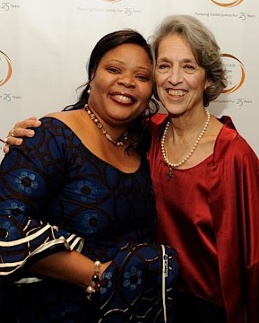 Leymah Gbowee with Ruth Messinger.