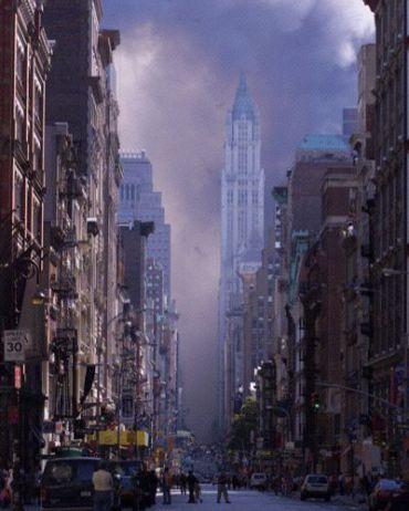 Lower Manhattan on 9/11.