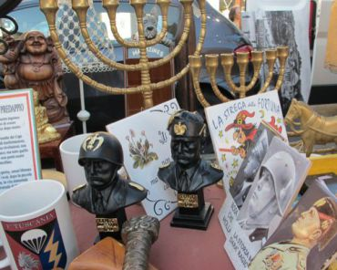 Beitar Torino? One stop shop for Judaica and Fascist paraphernalia at Gran Madre flea market, Turin on Sunday, June 19.
