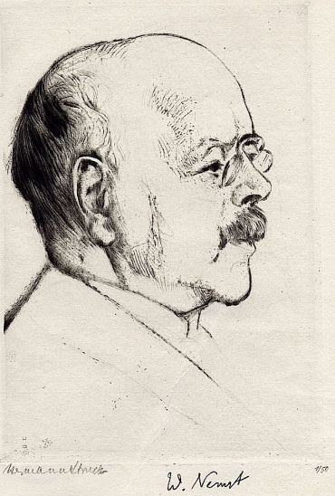 Hermann Struck?s etching of Walther Nernst, ?radiates brain-power and humane warmth.?