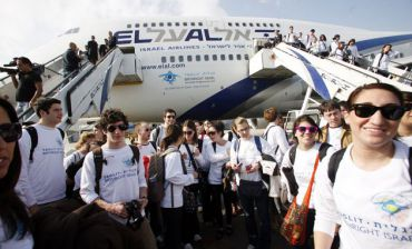 A plane carrying Taglit-Birthright participants lands in Israel on the 10th anniversary of the organization?s founding.