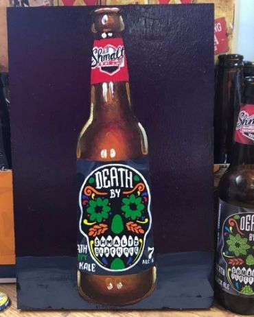 Shmaltz Brewing Company's Death By Shmaltz Blackale is among the beers consumed and painted by Tom Sanford.