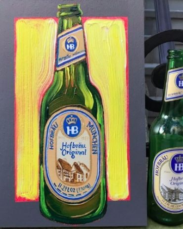 The beer consumed by the author was Hofbrau, painted after her drink with the artist.