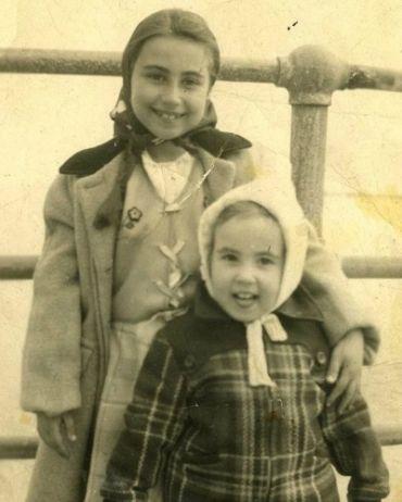 Mini Flirts: Sheila (left) and Marilynn at Winthrop Beach in 1944.