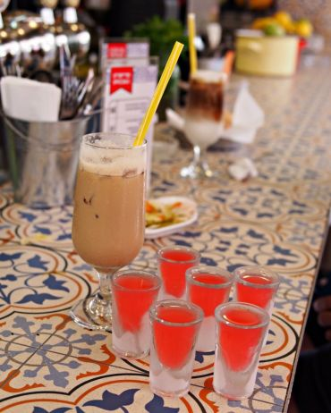 Fruity arak shots for breakfast — the perfect way to kick off a vacation.