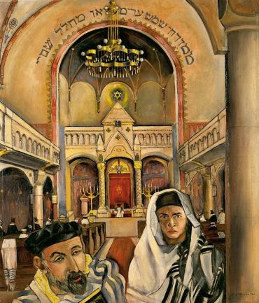 Felix Nussbaum, ?The Two Jews (Inside the Synagogue in Osnabrück),? oil on canvas, 1926.