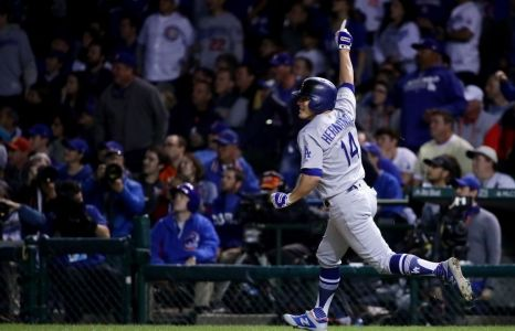 Los Angeles Dodgers player Kiké Hernandez celebrates hitting a home run in the 2017 National League Championship Series.