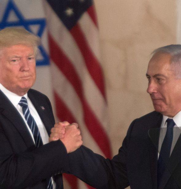 Donald Trump and Benjamin Netanyahu after Trump's speech at the Israel Museum in Jerusalem, May 23, 2017