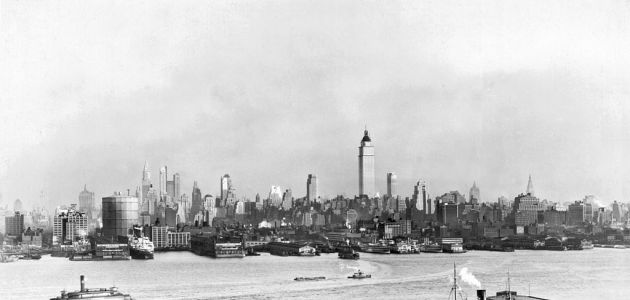 View of midtown Manhattan across the Hudson River from New Jersey, New York, New York, 1930s.