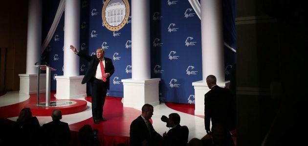 Donald Trump addressing the Republican Jewish Coalition