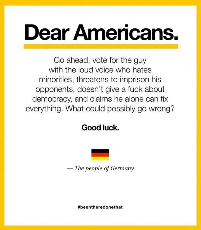 'Dear Americans' - German memes warns of dangers of voting Trump with Hitler reference